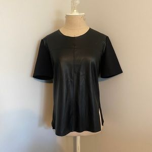 Kenneth Cole Colorblock Faux Leather T-Shirt
